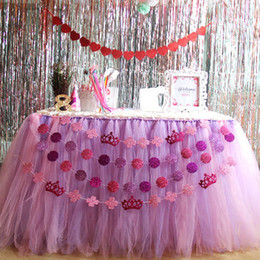 $enCountryForm.capitalKeyWord Canada - Colorful Wedding Tulle Tutu Table Skirt 100 cm *80 cm Princess Baby Shower Light Pink purple Mix Birthday Party Table Skirt