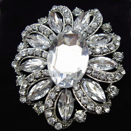 Hijab bouquets online shopping - Bling Bling Big Glass Crystals Diamante Flower Lady Hijab Wear Jewelry Pin Bridal Bouquet Brooch Women Dress Jewelry Broaches