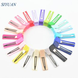 Single clip color online shopping - 60pcs cm Grosgrain Ribbon Wrapped Single Prong Children Barrette Alloy Clip Fashion Hairpin Diy Hair Accessories Fj08