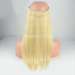 fishing line hair extensions Canada - Brazilian Human Hair No Clips Halo Flip in Hair Extensions, 1pc 100G Color #613 Easy Fish Line Hair Weaving Factory Price