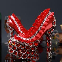 $enCountryForm.capitalKeyWord Canada - Luxury Rhinestone Crystal Laies shoes High heells Bridal Wedding Dress Shoes Red Flower Round Toe Lady Party Dancing Dress Shoes