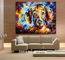 $enCountryForm.capitalKeyWord Canada - Lovely Dog Portrait Palette Knife Painting Oil Picture Printed On Canvas for Home Living Bedroom Wall Decor