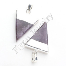 Amethyst Opal Pendant NZ - 2015 Hot Sale Silver Plated Opal Crystal Natural Stone Mystic Triangle Pyramid Reiki Pendant Charms Healthy Amulet Jewelry 10pcs