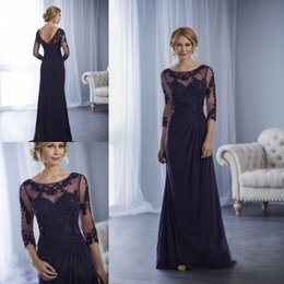 $enCountryForm.capitalKeyWord Canada - 3 4 Long Sleeve Mother Of The Bride Dresses Lace Applique Beads Formal Dress For Mothers Plus Size Evening Gown Wedding Guest Gown