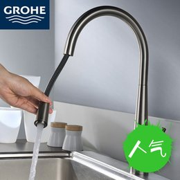 Germany Grohe GROHE Full Copper Extreme Matte Drawing Kitchen Sink Faucet  Can Be Pulled And Special Hot And Cold