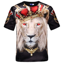Barato Roupas Grossistas Camiseta Homens-Wholesale-New fashion women homens hip hop crown lion print t shirt mens 3d compressão t-shirt swag tshirt homme brand clothing for men