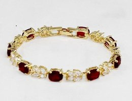 faceted crystal gemstones UK - White Red Crystal Faceted Gemstones 18K Gold-Plated Bangle Bracelet 7.5inch