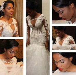 2017 Sexy South Africa Long Sleeves Lace Trumpet Mermaid Wedding Dresses 2015 Winter Plus Size Crew Sheer Neck Deep Gap Bridal Gowns BO9394