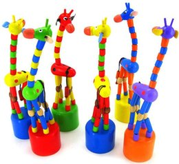 Push Wooden Toys NZ - Baby Wooden Push Up Jiggle Puppet Giraffe Finger Toys Assorted Animal Decorative Toys for Baby Kids