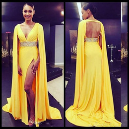 royal cape dress 2019 - Sexy Yellow Deep V Neck Open Back Prom Dresses Formal Celerbrity Red Carpet Party Dress with Cape Cheap Long High Split
