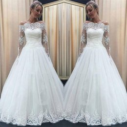 wedding dress full back covered 2019 - Ivory Off Shoulders Sheer Long Sleeves A Line Wedding Dresses 2018 Full Lace Tulle Cheap Bridal Gowns Zipper Back with B