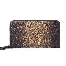 leather carved wallets UK - Hot Sale Fashion Vintage leather wallet bone carving Brand New long wallet fashion high quality cowhide making necessary multi-card wallet