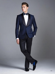 Meilleurs Costumes Formels Pour Hommes Pas Cher-2015 Costumes de mariage bleu marine garçons d'honneur Meilleur Mens Wedding Prom formel costumes châle revers smokings personnalisés marié (veste + pantalon + noeud papillon)
