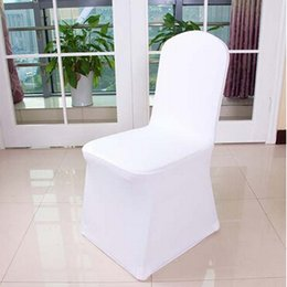 White Wedding Chairs Wholesale Canada - Universal White Polyester Spandex Wedding Chair Covers for Weddings Banquet Hotel Decoration Supplies DHL Fast Delivery
