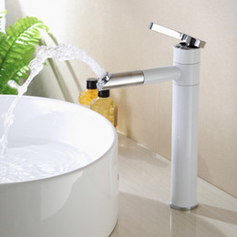$enCountryForm.capitalKeyWord NZ - Bathroom Vessel Sink Faucet Brass Chrome Finishing White Painting One Handle Deck Mounted Basin Sink Mixer Tap Tall A-T041