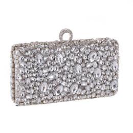 Bague du soir Pochette de soirée Sac à main en cristal serti de diamants et de diamants, avec chaîne et portefeuille, Sacs à main pour femmes, Argent / Noir en Solde
