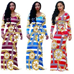 Barato Senhoras Manga Longa Maxi Vestido-2017 New Sexy Women's Ladies Long Sleeve Impresso Striped Slim Bodycon Maxi Party Dress 6 Colors 4 Size
