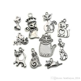 TibeTan silver caT pendanT online shopping - Mixed Tibetan Silver Plated Cat Charms Dangle Fashion Pendants Jewelry DIY Floating Charm Jewelry Making DIY styles
