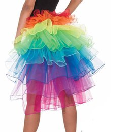 $enCountryForm.capitalKeyWord UK - Women Clown Costumes Dress Layered Organza Lace Rainbow Tutu Bustle Skirt Petticoat Casamento Birthday Party Decoration Supplies