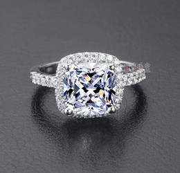 Wholesale US GIA Certificate SONA Diamond Drill Three Generations IJ color 3 carats Platinum -plated Sterling Silver Women Wedding Or Engagement Ring
