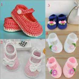 Baby Boy Crocheted Cotton Booties Canada - New infant shoes 2015 Comfortable Hand Knitted Baby Shoes newborn crochet booties crochet shoes sole shoes for baby boy