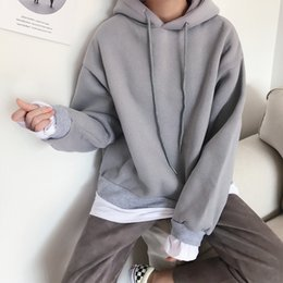 Han Guodong door 2017 Qiu dongkuan drawstring hooded head sleeve splicing T-shirt plus cashmere Hoodie all-match holiday two & Doors T Shirts Australia   New Featured Doors T Shirts at Best ... Pezcame.Com