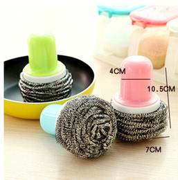 kitchen handles Canada - Kitchen handle wire brush pot ball artifact strong decontamination clean Xiguo not hurt the hand shiftable