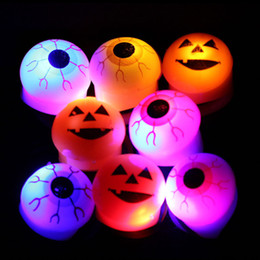 Light up eyes haLLoween online shopping - 2015 New Halloween ring LED Lighted up Toys Soft eye pumpkin ring Party Halloween Props Christmas Gift C061
