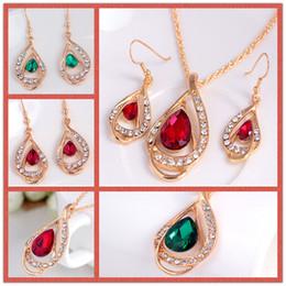 Crystal Gemstone Necklace Set Canada - Luxury Ruby Emerald Crystal Pendant Necklace + Stud jewelry Set Fashion Gemstone women Jewelry Sets for beautiful dress