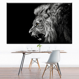 Black white framed posters online shopping - 1 Black White Roaring Lion Poster Paintings On Canvas Modern Wall Pictures For Living Room Home Decor No Frame Painting