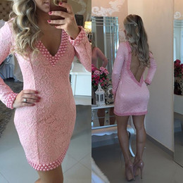 Wholesale hot sexy dresses cocktail long sleeve for sale – plus size 2016 New Hot Homecoming Dresses Plunging V Neck Long Sleeves Pink Lace Short Mini Pearls Backless Party Graduation Formal Cocktail Gowns
