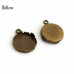 $enCountryForm.capitalKeyWord Canada - BoYuTe 40Pcs Antique Bronze Pendant Blank Bezel Tray 15MM 20MM 25MM Cabochon Base Setting Diy Jewelry Making