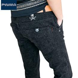 Chinese  Wholesale- 2017 new arrival men sanding pants korean style slim pants male skull trousers skinny long casual dress skeleton pant brand 751 manufacturers