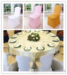 Party Chairs For Sale Canada - Hot Sale Universal White spandex Wedding Party chair covers White spandex lycra chair cover for Wedding Party Banquet many color