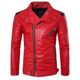 Barato Jaqueta De Couro Mangas De Camurça-Atacado- Manvelous Men Faux Leather Jacket Moda Casual Long Sleeve Lapel Solid Thick Men Coat Black Red Color Slim Suede Men Clothing