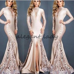Robes De Bal D'empire Nu Pas Cher-Michael Costello Nude Mermaid Robes de soirée avec manches longues 2018 Lace Stain Sexy Split Mermaid Prom Robes formelles
