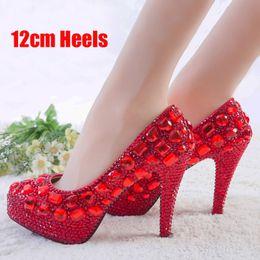 $enCountryForm.capitalKeyWord Canada - Red Rhinestone Heels Womens Crystal Pumps Wedding Platform Dress Shoes Cinderella Valentine Party Dress Shoes Size 9 10 11