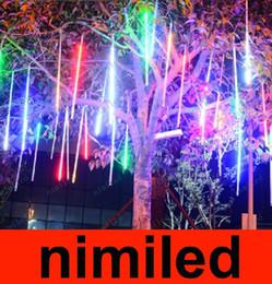 Red Tube Flash Canada - nimi621 Outdoor Waterproof Double Side 100cm 60LED 60 LED Meteor Rain Tube Light Christmas Ornament Lamp Fairy Wedding Flash LED Lighting