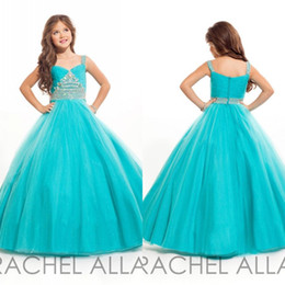 Turquoise flower girl dress online shopping - 2016 RACHEL ALLAN Turquoise Girls Pageant Dresses Spaghetti Straps Tulle Ball Gown Floor Length Beaded Crystal Flower Girls Dresses