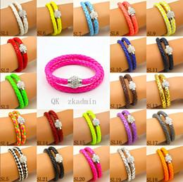 $enCountryForm.capitalKeyWord Canada - Hot Sale PU Leather Bracelet Shamballa CZ Disco Crystal Bracelet Fashion Magnetic Clasp Bracelet Wristband Jewelry