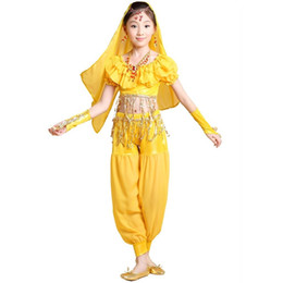 Red Indian Costumes Canada - New KID's Belly Dance Costumes Stage Competition Wear Cloth Set 4 Pieces Top&Pants&Gloves&Veil Child Bollywood Indian Dress