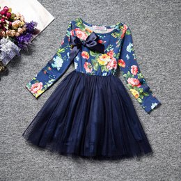 designs dress Canada - Latested design korean children clothes long sleeve spring baby girls floral dress kids girl's princess cotton dresses girl veil tutu skirt