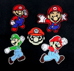 Barato Mario Applique-Venda imperdível! Conjunto completo de SUPER MARIO Brother bordado de ferro em patch Applique Badge KIDS costurar no patch Applique GP-034 Atacado