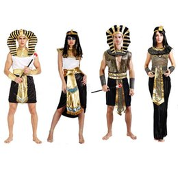 Robe De Cosplay D'egypte Pas Cher-Halloween femmes Costume Egypte Prince Princesse Roi Reine Pharaon Cosplay Mascarade Ball Costume Déguisements