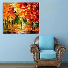 Beautiful Oil Paintings Pictures Scenery Canada - Free Shipping Best Wall Art Handpainted Knife Oil Painting Beautiful Autumn Scenery Abstract Art on Canvas Modern Pictures Home Decoration
