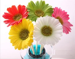 one piece displays 2019 - one piece Real Touch PU Gerbera Artificial Single Sun Chrysanthemum Rea Touch Gerbera Flower White Pink red beige green