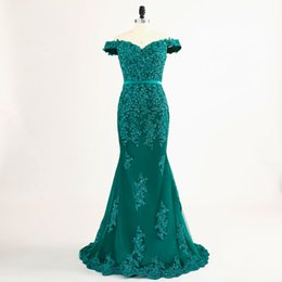 Barato Vestidos Formais Estilo Modesto-Real Green Cap Sleeve Mermaid Evening Dresses 2017 Modest Robe De Soiree Appliques Estilo Beading Tulle Formal Evening Gowns Prom Party Dress