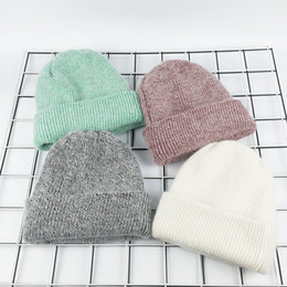Discount women beach pink hats - New autumn and winter days Angola rabbit hair knit cap curling wool cap men and women thickening hedge warm winter hat h