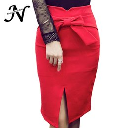 Barato Calças De Contorno Por Atacado-Venda Por Atacado - Bow High Waist Pencil Skirt Black Red Knee Length Outono Inverno Mulheres Saias Casual Tight Womens Bodycon Skirt Plus Size Saia