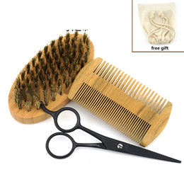 Wholesale Men s Shaving Kit Shaving Brush Combs Beard Scissors Men s Styling Set with Bag Hot Sale Free Shipment
